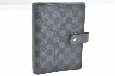 Auth Louis Vuitton Damier Graphite Agenda MM Day Planner Cover R20242 LV 62164