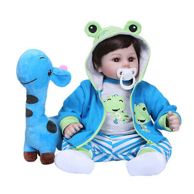 19inch 48cm Reborn Doll Lifelike Silicone Baby Doll Gift Toy Frog Outfits
