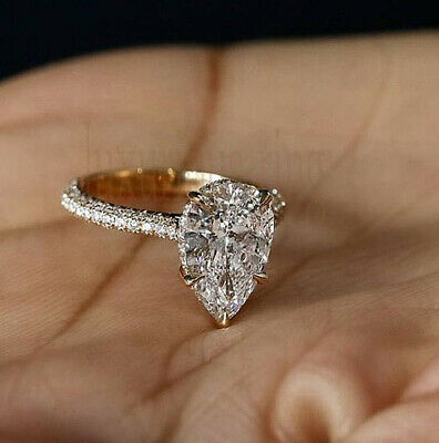 2.17 Ct Pear Near White Moissanite 10k Solid Yellow Gold Engagement Wedding Ring