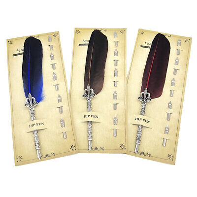 Retro Feather Quill Dip Fountain Pen Smooth Writing Stationery Gift 24cm Efficie