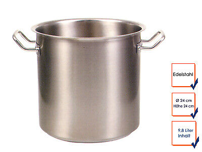 Vegetable Stew Soup Pot Cooking Professional Quality Stainless Steel 9,8L Ø24cm
