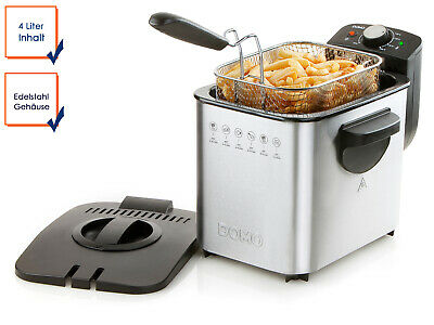 Electric Fryer 4 Litre Capacity Domo Stainless Steel Thermostat up to 190°