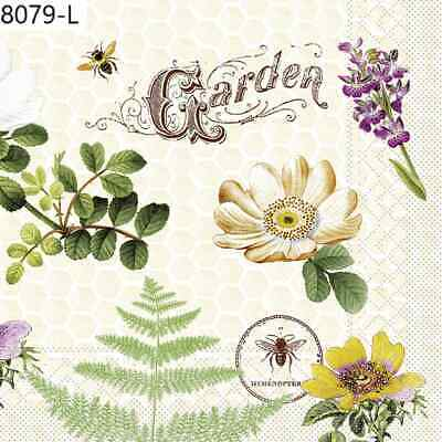 TWO New Paper Luncheon Decoupage Napkins - BEE, BEES, FLOWERS, BEE HIVE, (8079)