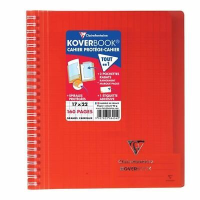 CLAIREFONTAINE - Cahier reliure avec rabats KOVERBOOK - 17 x 22 - 160 pages Sey