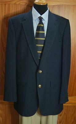 Edgeworth Navy Blue Two GOld Bttn POly Blazer Sport Coat Suit Jacket 44L