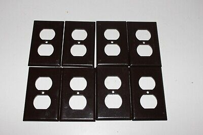 Vintage Lot Leviton Bakelite Wall Double 2 Socket Outlet Cover Plate Brown S30
