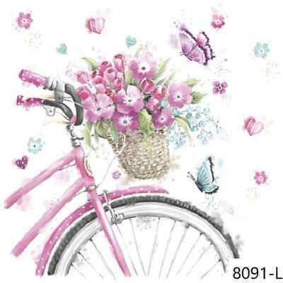 TWO New Paper Luncheon Decoupage Napkins - BIKE, FLOWERS, ROSE, BUTTERFLY (8091)