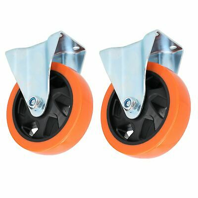 "5"" Fixed PVC Trolley Castor Wheel Roller Bearings 150kg Load Per Wheel 2 Pack"