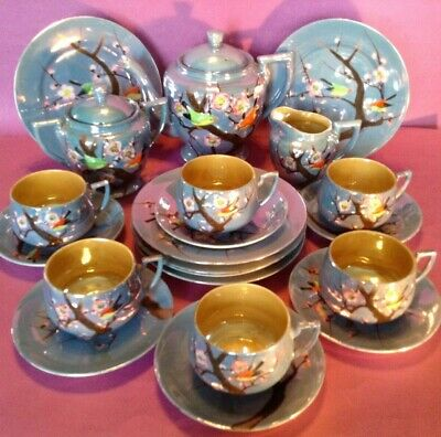 Hand Painted 19 pc Tea And Dessert Set - Blue Luster With Figural Birds - Japan
