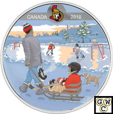2018'Ottawa Senators(R)-Passion to Play'Prf $10 Silver Coin 1/2oz .9999(18248)NT