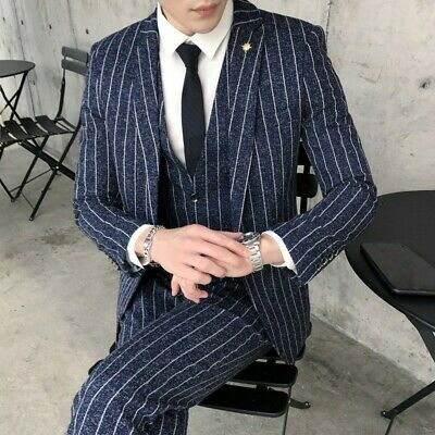 Men's Wedding Suit Formal Business Party Prom 3 Piece British style Outfit Lapel