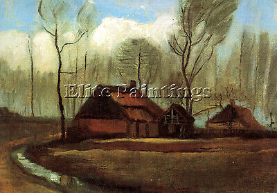 Farmhouses Among Trees Artist Painting Reproduction Handmade Oil Canvas Repro