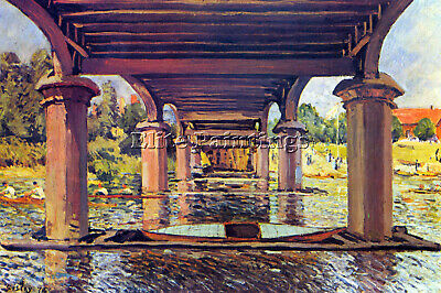 Under The Bridge At Hampton Court By Sisley Artist Painting Oil Canvas Repro