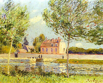Houses On The Banks Of The Loing By Sisley Artist Painting Oil Canvas Repro Deco