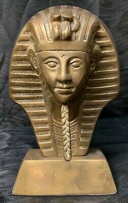 "Vtg Large Brass Egyptian King Tut Tutankhamun Bust Statue Figure 8.5"" Pharaoh"