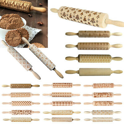 3D Christmas Embossing Wooden Rolling Pin Baking Tools Professional Dough Roller