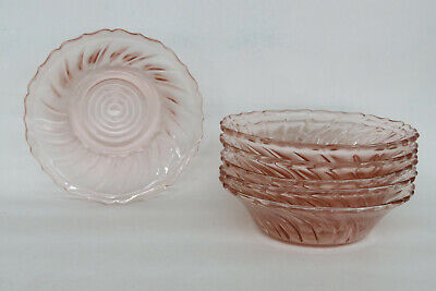 Jeannette Swirl Style Pink Depression Glass Set of 6 Berry Bowls Dishes 1340B