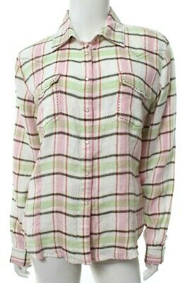 Ryan Michael Womens M Medium Pink Green White Plaid Western Shirt Linen Snap EUC