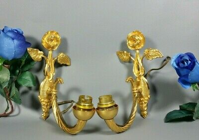 French Vintage Hollywood Regency Gilt Brass Wall Sconce Light PAIR Roses 1950s