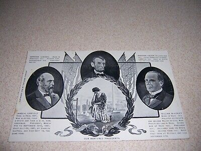 """1906 """"OUR MARTYRED PRESIDENTS"""" ANTIQUE POSTCARD - LINCOLN, GARFIELD, McKINLEY"""
