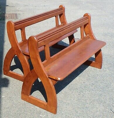 Victorian antique pair solid pine Gothic church pews hall benches settles seats