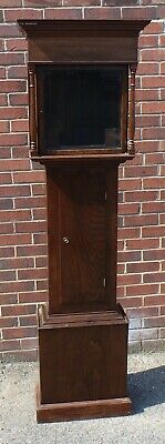 George III & later antique solid oak elm grandfather longcase clock case trunk
