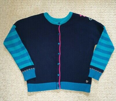 Catimini Girls Navy Blue Striped Cardigan Floral Detail - Age 6 Years.