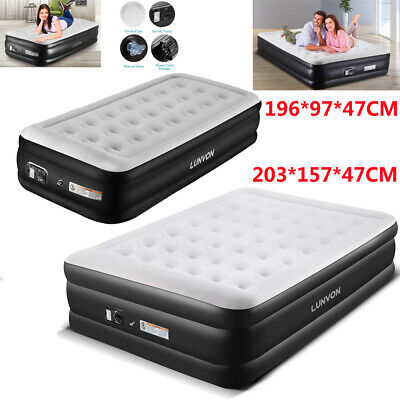 Lunvon INFLATABLE HIGH RAISED AIR BED MATTRESS AIRBED W BUILT IN ELECTRIC PUMP