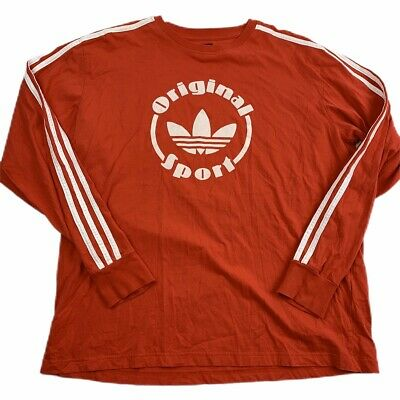 adidas Herren T shirt Pinstripe Trefoil, university red, XL