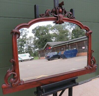Antique Victorian Carved Mahogany Overmantle Wall Mirror
