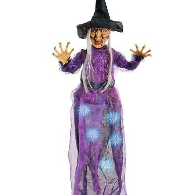 Halloween Haunters Hanging Wicked Witch Purple Dress LED Lights Prop Decoration