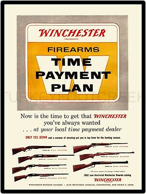 "WINCHESTER FIREARMS TIME PAYMENT AD 9"" x 12"" ALUMINUM Sign"