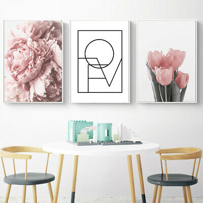 Ne_ Nordic Tulip Flower Canvas Wall Painting Picture Poster Art Home Decor Fad