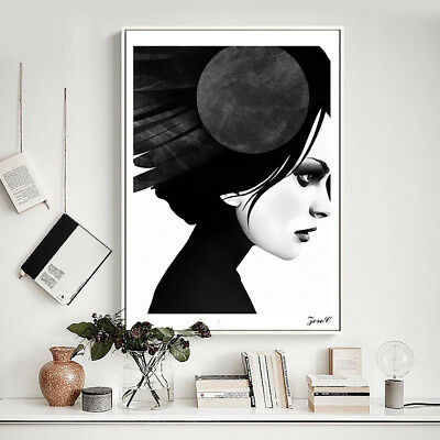 Ne_ Nordic Black And White Lady Wall Art Picture Living Room Bedroom Decor All