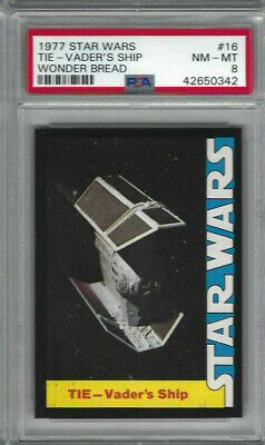 1977 Star Wars Wonder Bread #16 TIE - Vader's Ship Card - Graded PSA NM-MT 8