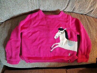 Joules Girls Millicent Knitted Dress 1 6Yr in Deep Pink Roller Horse