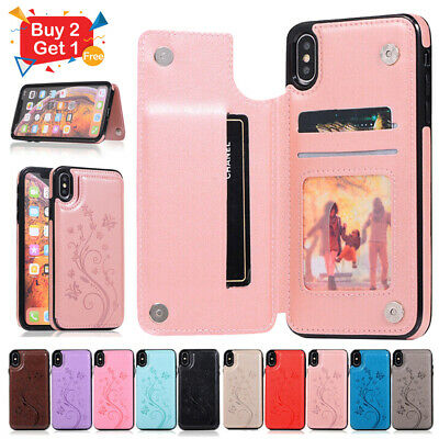 For iPhone 6 7 8 Plus 6s X XS Max XR Flip Leather Card Holder Wallet Case Cover