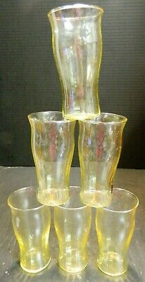 "Vintage Set of (6) Ribbed Tapered Yellow Glass Tumblers 5.13"" x 2.75"" Excellent"