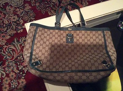 Gucci  D-Ring Abbey Tote  Logo Fabric W/Green Leather Trim  Gc Retail $1500