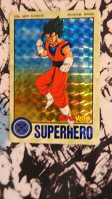 Carte Dragon Ball Z SUPER HERO CARD 1995 RARE PRISM GOKU / VEGETTO