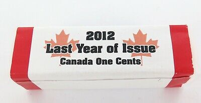 """Last Year Of Issue"" 2012 Canada Royal Canadian Mint 1 Cent / Penny Roll."