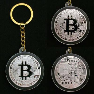 BTC Keychain Metal Keyring Physical Bitcoin Chain Gold Silver Key Ring