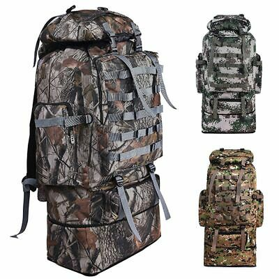 100L Outdoor Hiking Military Tactical Backpack Rucksack Army Camping Camo Bag