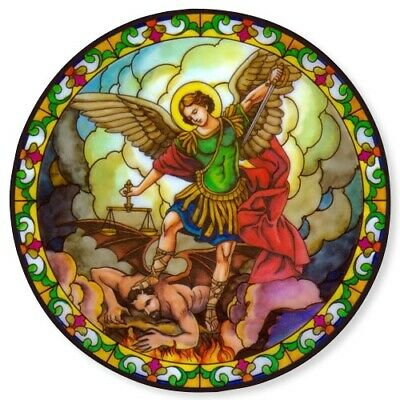 St. Michael Archangel Stained Glass Suncatcher Sticker Window Cling NEW Catholic