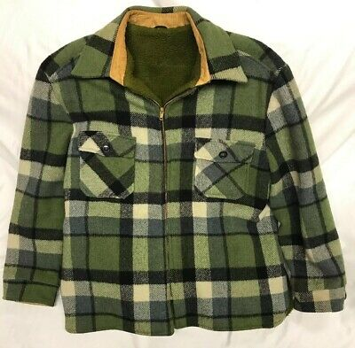 Vintage 50s Green Wool Plaid JACKET HUNTING FULL ZIP Talon Zipper Men's Size M/L