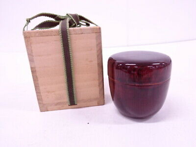 4342936: Japanese Tea Ceremony Tame-Nuri Lacquered Tea Caddy / Natsume