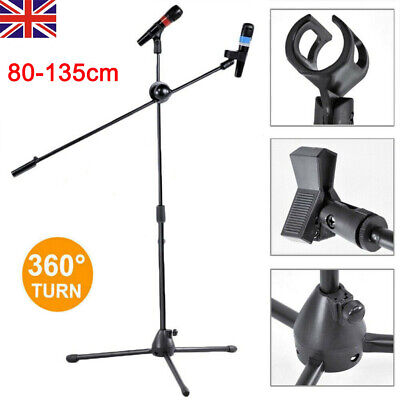 Professional Boom Microphone Mic Stand Holder Adjustable With Free Clips Black Y