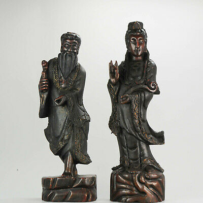 Large SET Ca 1900 Chinese Carved Wood Statues Gilded Immortal & Guanyin[...