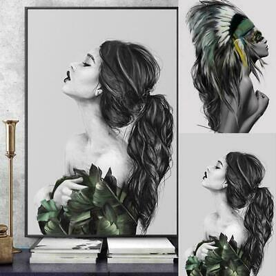 Nordic Modern Abstract Inkjet Canvas Painting Indian Art Women Poster-Home- P4G4