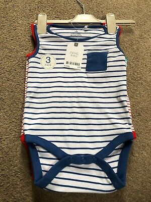 Next Baby Boys Striped Bodysuits 9-12 Months Bright Blue Red Green